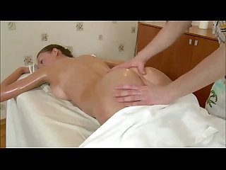 Busty massage babe fucked after sucking dick