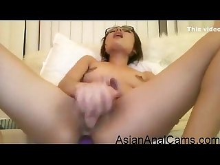 Exotic Webcam Asian Babe With Glasses Anal And Pussy Dildo