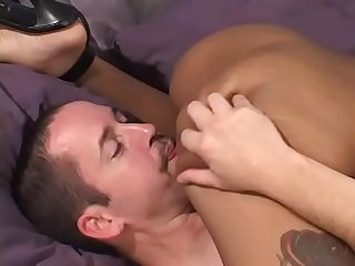 Black hooker with nice tits gets a white dick fucked in the bedroom