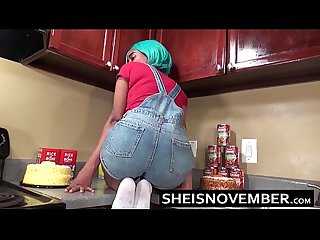 Ebony step sister msnovember is fucked in kitchen hardcore bro sex blowjob pov