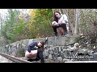 Cutie teens pissing on stairways and walls