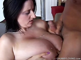Beautiful busty BBW brunette is a very hot fuck