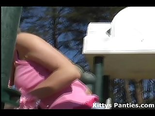 Innocent teen Kitty flashing her pink panties
