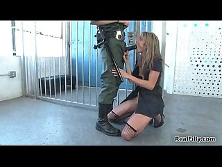 Blonde prison babe gets forced to suck