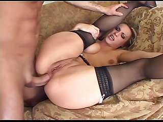 Blonde has kinky anal sex in thigh high stockings