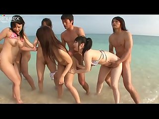 Japanese group beach sex