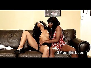 Ebony stepdaughter is trusting in hot mommy