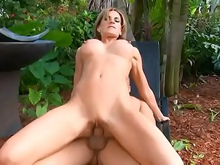 Sexy boobs babe Sharano Gold is sucking a huge dick then gets fucked