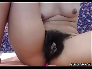Skinny babe with hairy armpits and bush pov on cam