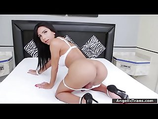 Tgirl Yasmim solo jerking and orgasms