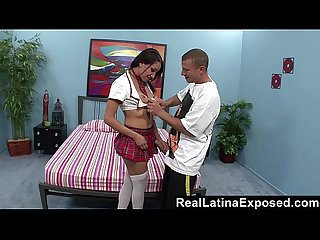 RealLatinaExposed - Latina Student Learns How to Deepthroat