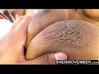 Brown Complexion Skin Girl With Pretty Large Dark Nipples and Huge Areolas Boobies Squeezed Rough..