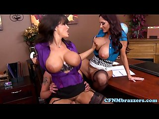 Huge boobs cfnm duo get cumshot together