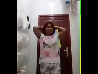 Desi Aunty self shot bath and dressing up video