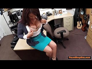 Busty brunette MILF gives bj and gets fucked for husband