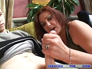 Mature brunette milf sucks comma fucks and swallows