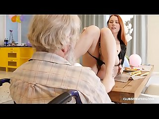 Handicapped grandpa gets blown by Teen Redhead step niece