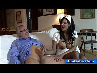 Lucky old man gets to fuck a very attractive busty nurse