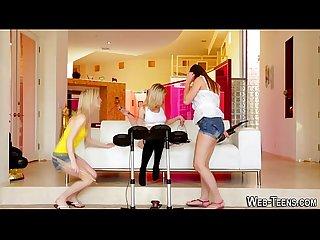 Petite lesbian threesome