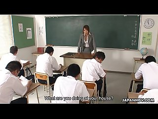 Nasty asian teacher sucking and blowing her students