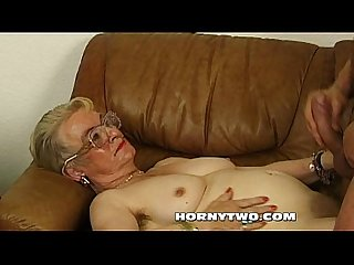 Wet chubby granny old pussy fucking younger lad happy for cumshot all over face