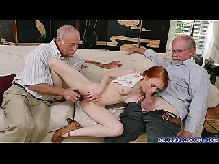 Redhead dolly Little plays and fucks with grandpa