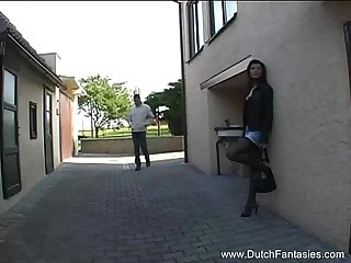 Dutch brunette milf fuks wearing clothes
