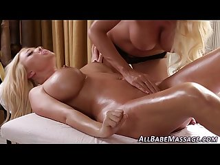 Busty masseuse finger lez