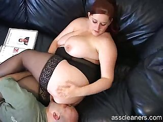 Big titted mistress lets man lick her pussy before her ass hole