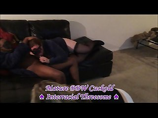 Mature bbw cuckold interracial threesome