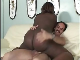 Nice Cute overweight black chick gets White Dick and sucks it for A lot of cream