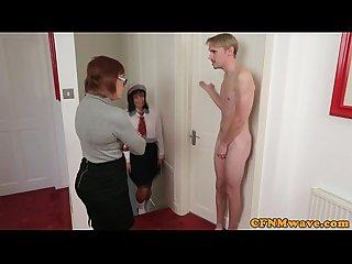 Brit femdom Lexi lou and Co jerk guy off
