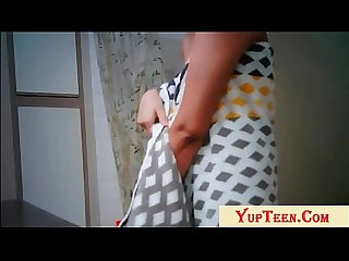 Indian College Girl Changing Cloths After Bath