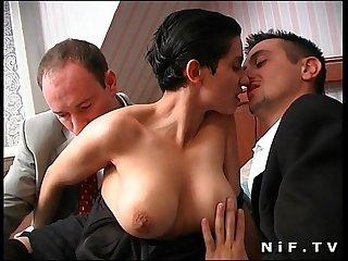 French brunette slut gets double teamed