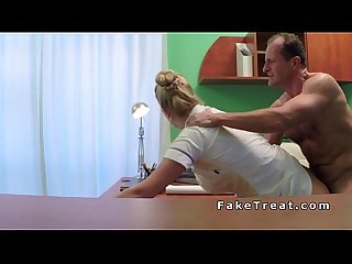 Doctor fucks his blonde nurse in office