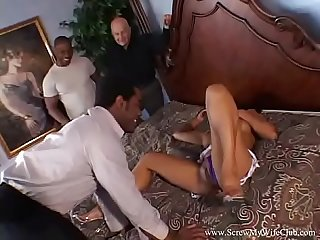 Ebony swinger fucks husbands friend