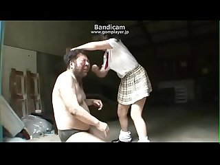 Japanese girl humiliates old man