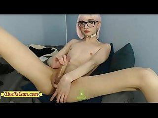 Cute Femboy Jerking Big Cock - LiveTsCam.com