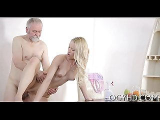 Glamorous juvenile gal fucked by old guy