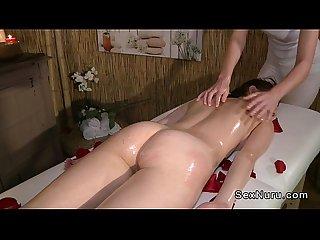 Lesbian nuru massage with roses
