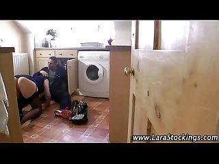 Leggy mature blows plumber