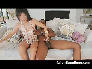Asian Beauty Marica Hase Sucking And Riding Big Black Pole