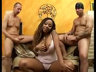 Mature ebony in hot dp with white men