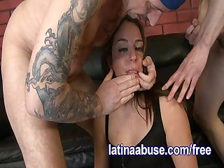 Two white dicks fuck her latina face