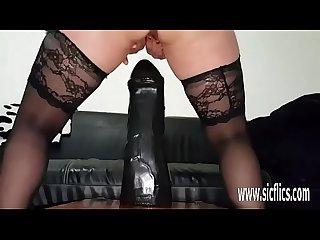 Massive dildo fucking amateur slut