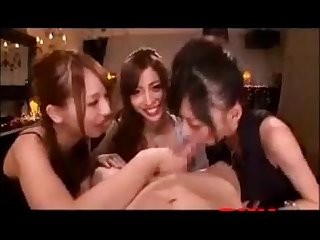 3 japanese girls suck on one lucky guys cock