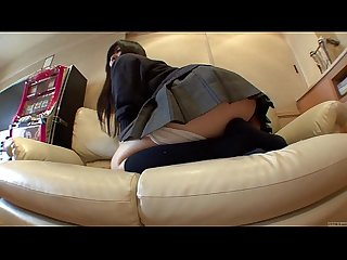 Subtitled Japanese schoolgirl drops panties to fart in HD