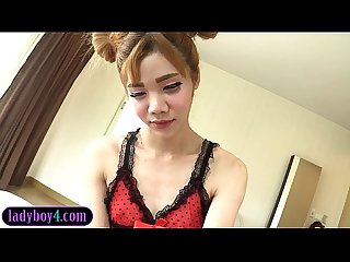 Teen ladyboy in red lingerie pov handjob and rides anal