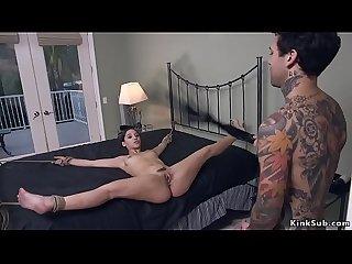 Yard worker anal fucks tied up rich boss