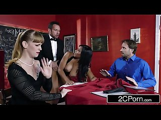 Busty waitress Jenna J Foxx is horny as fuck
